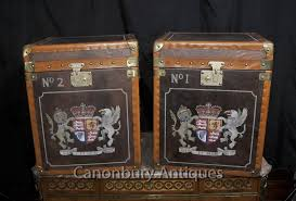 steamer trunk side table pair leather steamer trunk side tables boxes luggage case