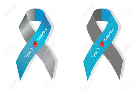 gray and blue ribbon with blood drop as symbol of diabetes type
