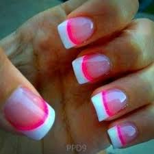 pink and white nail designs for short nails