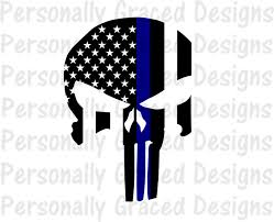 Thin Blue Line Flag Svg Dxf Eps Cut File Police Punisher Skull Thin Blue Line