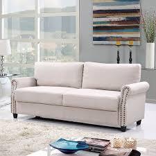 Livingroom Sofa Amazon Com Classic Living Room Linen Sofa With Nailhead Trim