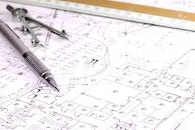 architectural plan architectural plan pencil and scale ruler stock photo picture
