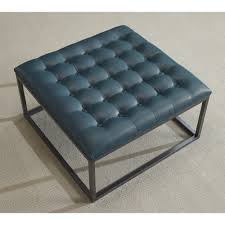 Leather Ottoman Tray by Healy Teal Leather Tufted Ottoman Teal Blue Foam Tufted