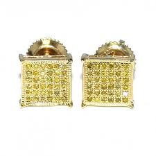 back diamond earrings diamond earrings canary 0 25ct 10k yellow gold square pave 7 5mm