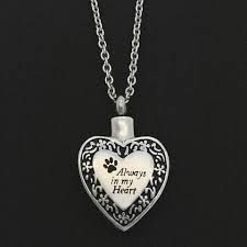 pet ashes necklace always in my heart paw print pet memorial ashes necklace urn