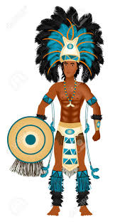 thanksgiving indian costume vector illustration of an aztec man in costume for carnival