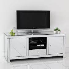 Led Tv Table Decorations Mirrored Tv Stand Glass Cabinet Contemporary Decor Vintage Unit