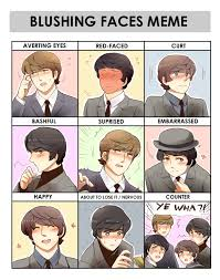 The Beatles Meme - beatles blushing meme by peppermoonflakes on deviantart