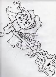 beautiful outline birds flower and rose key tattoo design