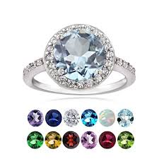 birthstone ring glitzy rocks sterling silver gemstone or cubic zirconia birthstone