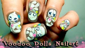tutorial how to do gloomy but cute voodoo doll nail art youtube