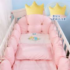 Infant Crib Bedding 100 Cotton Crib Bed Linen Kit Crown Design Baby Crib Bedding Set