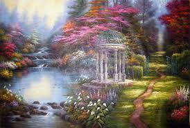Flower Garden Chairs Thomas Kinkade Painting Pattern The Garden Of Prayer Garden
