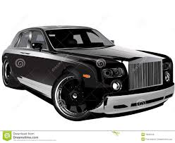 roll royce phantom custom customized luxury black rolls royce phantom car stock illustration