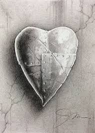 impenetrable heart fine art print pencil drawing of a heart