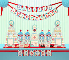 printable birthday decorations free blue carnival circus birthday party package personalized full