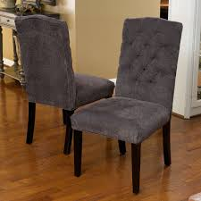 Tufted Dining Chair Set Of 8 Elegant Gray Linen Upholstered Parsons Dining Chairs W