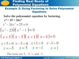 example 2 using factoring to solve polynomial equations
