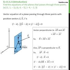 ex 11 3 6 find equations of planes passing three points equation of plane