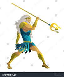 poseidon neptune greek roman god sea stock vector 682887187