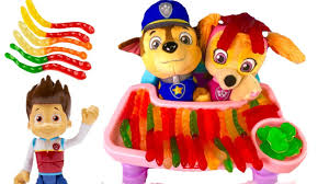 paw patrol skye chase babies eat gummy worms candy learning colors
