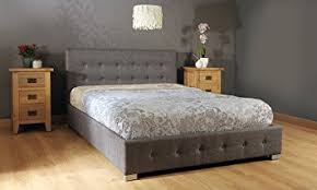 comfy living 4ft6 double fabric ottoman storage bed in grey