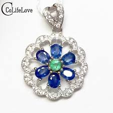 sapphire emerald necklace images Vintage round silver gemstone pendant 3 4mm natural sapphire 3mm jpg