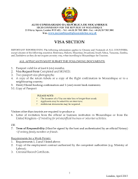 visa section high commission of the republic of mozambique