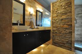 bahtroom nice wall lamps closed casual mirror above long vanity