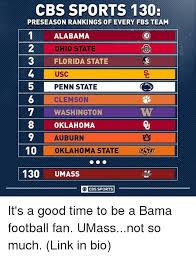 Oklahoma State Memes - cbs sports 130 preseason rankings of every fbs team 1alabama 2 3