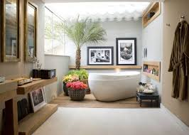 Bathtub Planter Tropical Bathroom Decor Glass Bathtub Door Beige Ceramic Tile