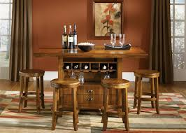 Casual Dining Room Furniture Sets Pub Casual Dining 5 Piece Center Island Table Set In Oak Finish By