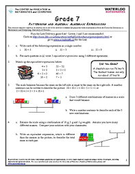 best solutions of worksheets on algebraic expressions for grade 7