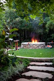 Firepit Garden Stacked Pit Landscape Traditional With Backyard