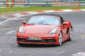 porsche pink porsche 718 boxster gts spied testing at the nurburgring evo