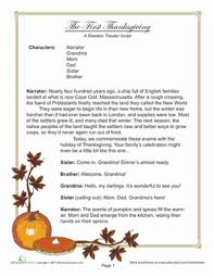 reader u0027s theater first thanksgiving worksheet education com
