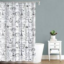 Pink Black And White Shower Curtain Lux French Paris Eiffel Tower Black White Pink Fabric Shower