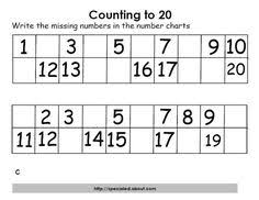Grade 1 Counting To 20 Worksheets Free Math Lesson Count To 20 Review Cut And Paste Missing