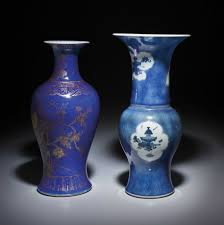 a blue and white phoenix tail u0027 vase and a gilt decorated powder
