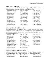 Resume Hotel Job by Ultimate List Of 500 Resume Keywords