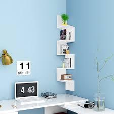 5 tier wall mount corner shelf storage unit shelves wood home