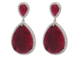 ruby drop earrings earthy drop ruby earrings rubies earrings
