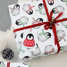 christmas gift wrap baby penguin christmas wrapping paper set by clara and macy