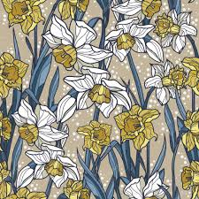 seamless pattern with beautiful narcissus flowers in art nouveau