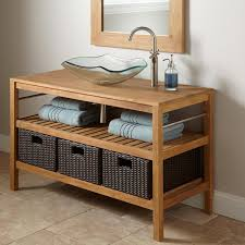 cabinet cool untreated teak wood trough sink vanity bathroom