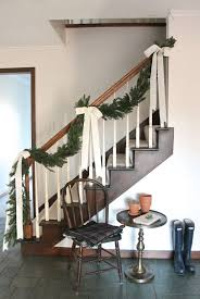 Banister Railing Exciting Green Christmas Garland Feat White Flower Also White