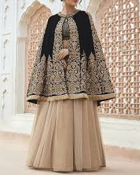 shop lehenga style suit for cocktail party in black colour from