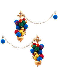 earrings online buy multicoloured pompom earrings online in india at cooliyo