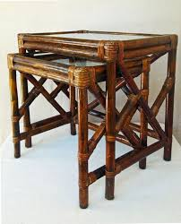 Vintage Bamboo Rattan And Glass Nesting Tables End Table Side