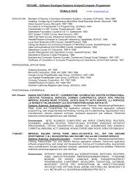 Resume For Software Developer Resume Software Developer Systems Analyst Computer
